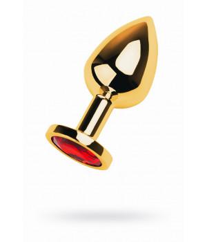 Анальный страз, TOYFA Metal, золотистый, с кристаллом цвета рубин