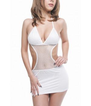Платье и стринги Erolanta Lingerie Collection, с вставкой из сетки, белое, S/L