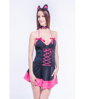 Костюм кошки Erolanta Lingerie Collection (платье, ушки-ободок и галстук), черный, S/L