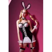 Костюм зайки Candy Girl Charity (платье с пажами, трусы, головной убор, галстук, чулки, манжеты), черно-белый, OS