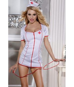 Костюм медсестры Candy Girl (платье, стринги, головной убор и стетоскоп) бело-красный-XL