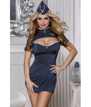 Костюм пилота Candy Girl (платье,стринги, головной убор), синий, XL