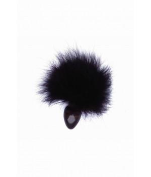 Анальная втулка с чёрным заячьим хвостом 32мм