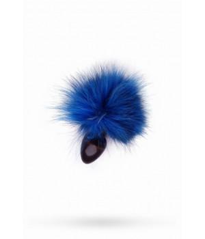 Анальная втулка с голубым заячьим хвостом 40мм