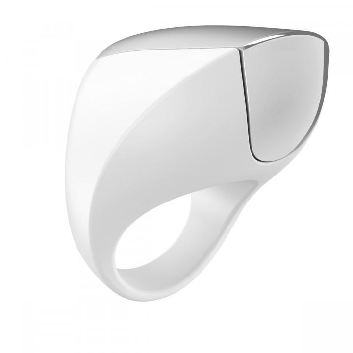 Эрекционное кольцо OVO инновационной формы с вибрацией, перезаряжаемое, силиконовое, белое