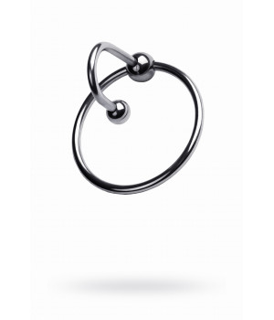 Кольцо на пенис с уретральным стоппером,TOYFA Metal, серебристое