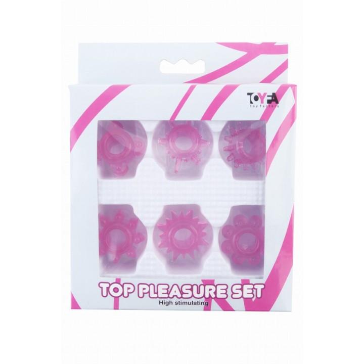 Набор колец на пенис TOYFA, ПВХ, розовый, 6 шт, ?2 см