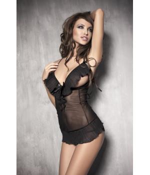 Caprice - Комбинация с открытой грудью и стринги черные-L