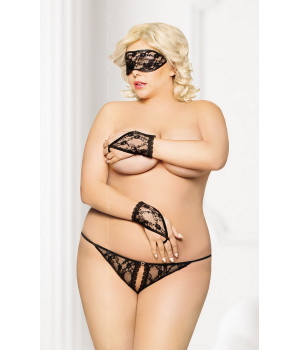 Кружевной набор: стринги, маска и перчатки черные-XL