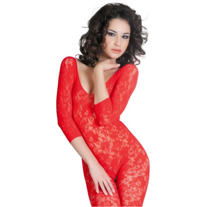 Костюм-сетка бесшовный с рукавами, шелковистое плетение, красный-S/L