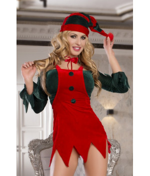 Костюм помощницы Санты: топ, юбка, стринги, галстук и головной убор красно-зеленый-OS