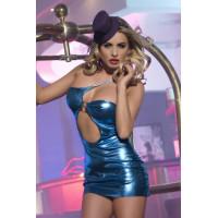 Клубное платье с ассиметричным вырезом синее-OS