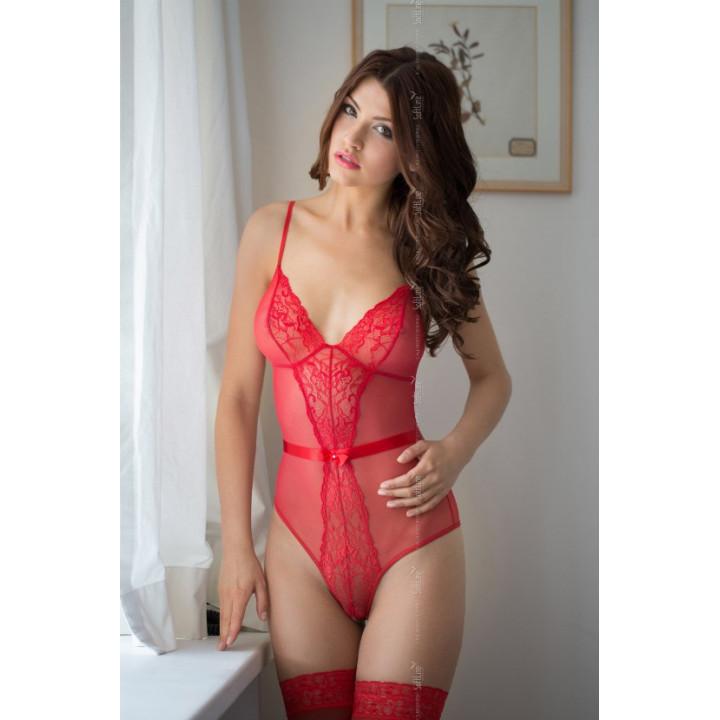Боди c интимным вырезом SoftLine Collection Linda красное-M/L
