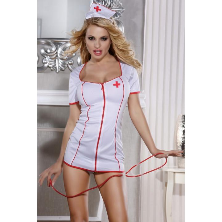 Костюм медсестры Candy Girl (платье, стринги, головной убор и стетоскоп) бело-красный-OS