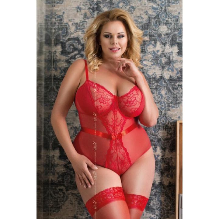 Боди с доступом SoftLine Collection Amelia красное - XL