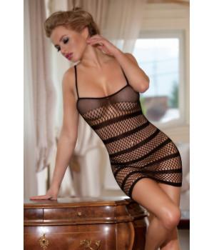 Платье-сетка Candy Girl с полосками черное-OS