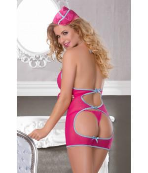 Костюм стюардессы Candy Girl (комбинация, стринги и пилотка) розово-голубой-OS