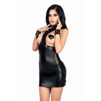 Платье с открытой грудью MENSDREAMS, экокожа, черный S-M