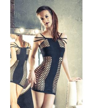 Платье-сетка Erolanta Net Magic бесшовное с тройными бретелями, черное-S/L