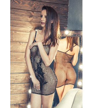 Платье-сетка Erolanta Net Magic бесшовное с вышивкой черное-S/L