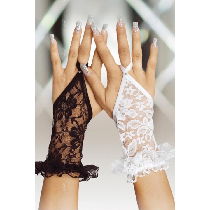Перчатки кружевные короткие черные-S/L