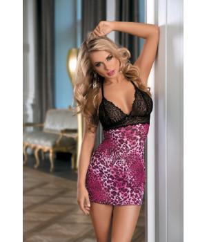 Комбинация Candy Girl с контрастным бюстом и стринги розово-черные-OS