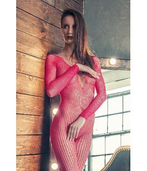 Костюм-сетка Erolanta Net Magic бесшовный с имитацией шнуровки розовый-S/L