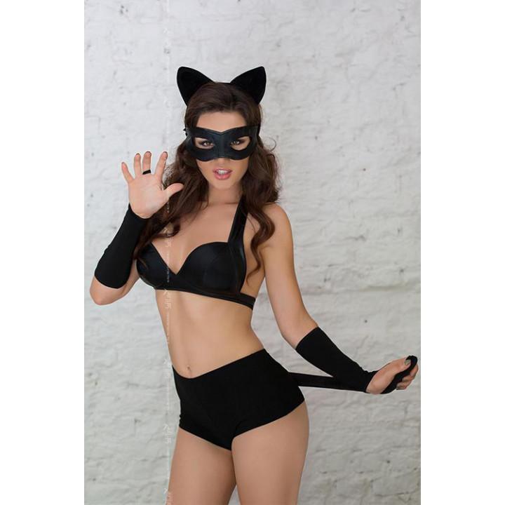 Костюм кошечки SoftLine Collection Catwoman (5 предм.), чёрный-М