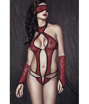 Ashley - Боди, маска и перчатки красно-черные-L