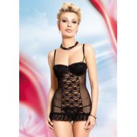 Paige - Ночная сорочка и стринги черные-L