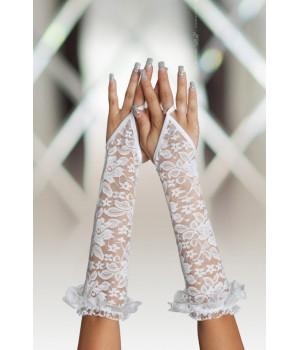 Перчатки кружевные, до локтя, белые-S/L