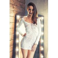Платье Erolanta Net Magic бесшовное с рукавами, с цветочным рисунком, белое-S/L