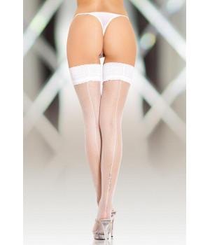 Чулки-сетка шов белые-XL