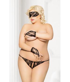 Кружевной набор: стринги, маска и перчатки черные-XXL