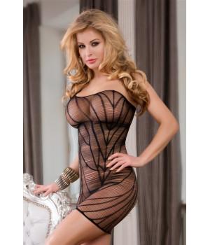 Платье-сетка Candy Girl с открытым плечом, чёрное-OS