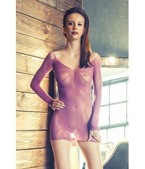 Платье Erolanta Net Magic бесшовное с рукавами, с цветочным рисунком, пурпурное-S/L