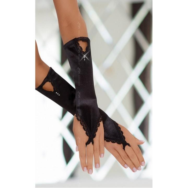 Перчатки атласные черные-S/L