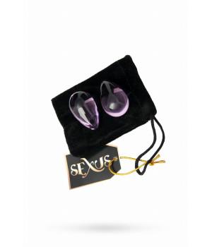 Вагинальные шарики Sexus Glass из стекла в элегантной форме капельки для тренировки вагинальных мышц, розовые