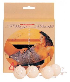 Вагинальные шарики Dream Toys, ABS пластик, белые, 4 шт, ?3,5 см