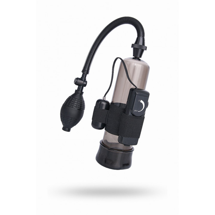 Помпа для пениса Sexus Men Training, вакуумная, механическая, с вибрацией, ABS пластик, чёрная, ?6 см